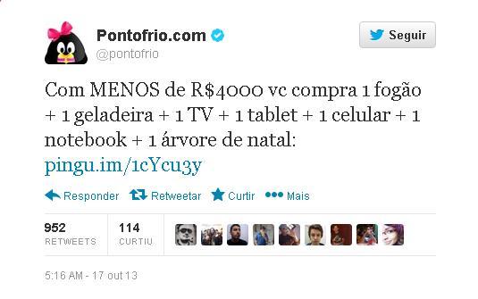 Post do Twitter das lojas Ponto Frio sobre o preço do Playstation 4.