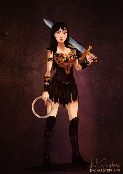 Mulan virou Xena, da série 'Xena: A Princesa Guerreira'.