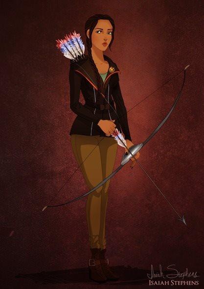 Pocahontas virou Katniss Everdeen, personagem do filme 'Jogos Vorazes'.