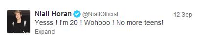 Os 20 anos de Niall Horan ficou com o terceiro lugar entre os mais retuitados em 2013.