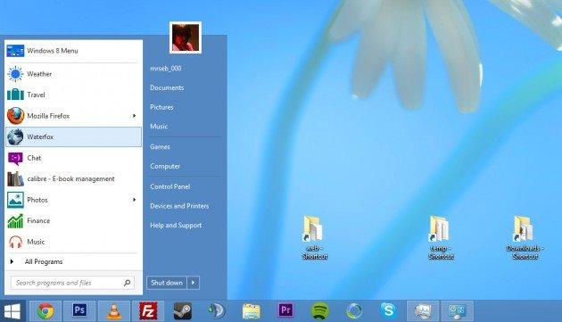 Como ficaria o Windows 8.2 com o Menu Iniciar.