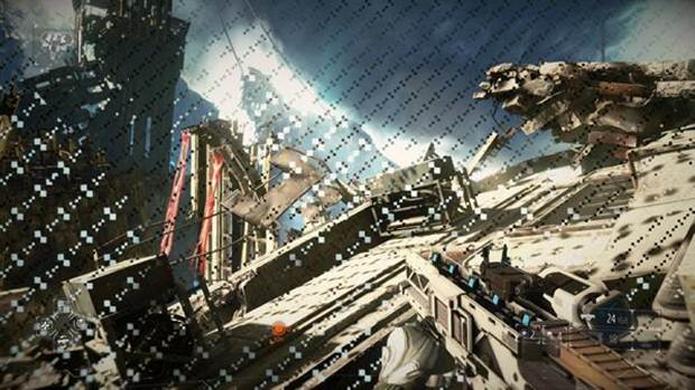 Poluição visual ocupa toda a tela em Killzone: Shadow Fall.