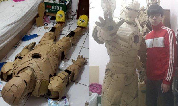 Jovem artista cria armadura do Homem de Ferro, feita de papelão.