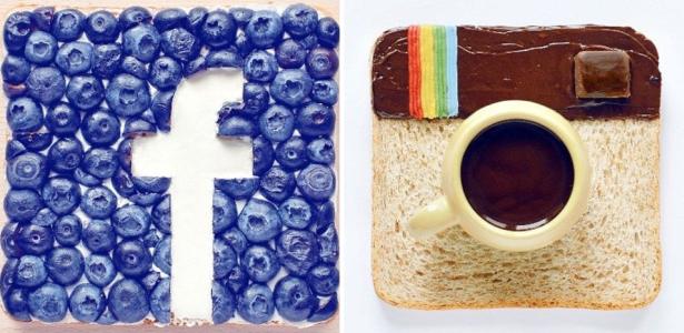 Designer Daryna Kossar usa comida para reproduzir símbolos de redes sociais.