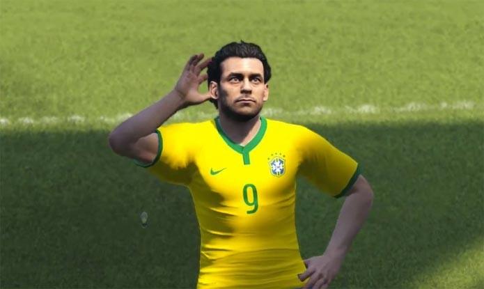 Fred comemora um de seus gols na partida entre Brasil x Alemanha em PES 2015.
