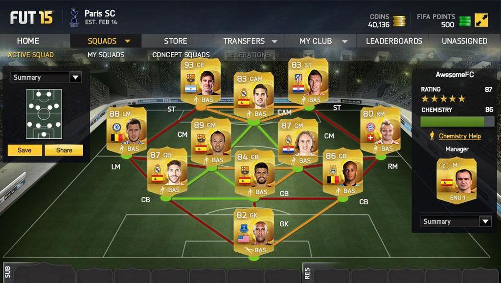 FIFA 15 Ultimate Team.