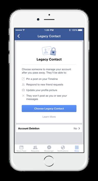 Legacy Contact permite cadastrar um contato para cuidar do seu perfil em caso de morte.