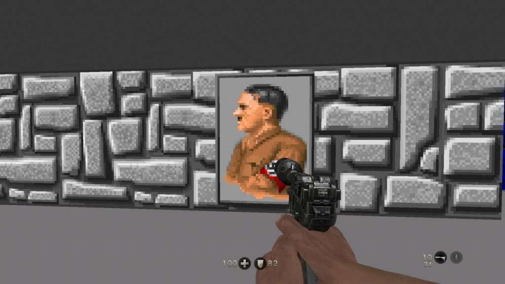 Isso não é um bug, mas sim uma homenagem ao Wolfenstein das antigas