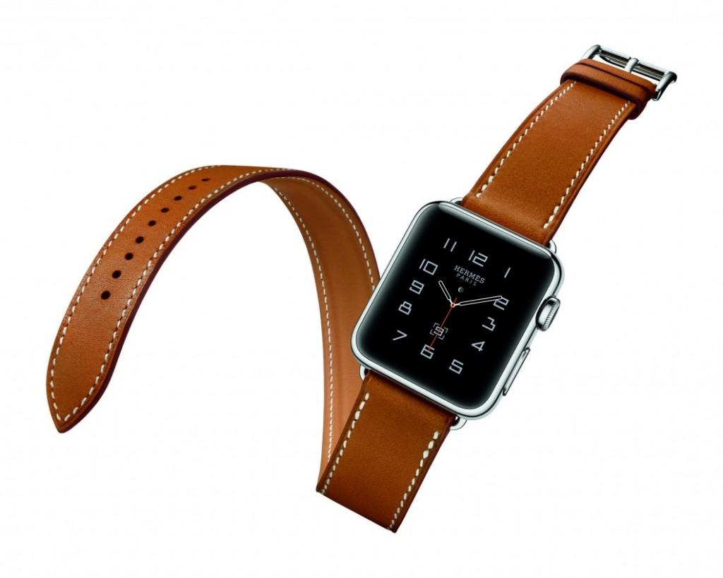 Apple Watch com pulseira de couro, produzida pela Hermès.