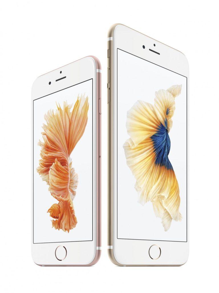 Novos iPhone 6s (branco/rosa) e iPhone 6s Plus (branco/dourado).