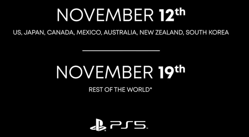 Data de lançamento do PS5.