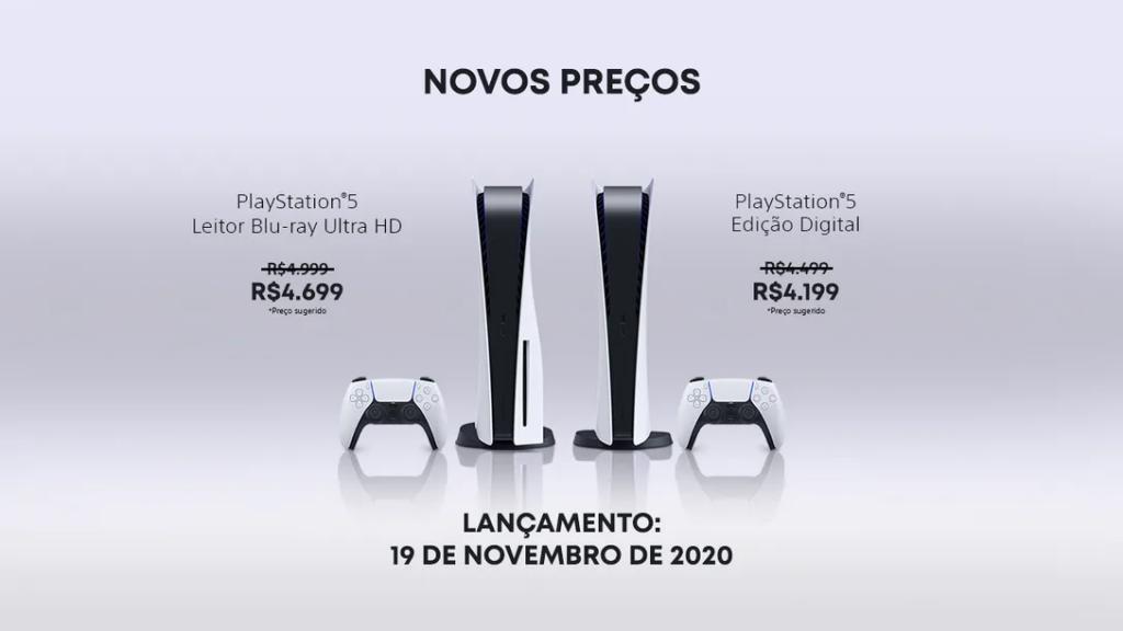 Novos preços do PS5 no Brasil.